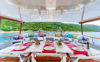 Outdoor Seating on Love Boat | Bike & Boat Tours
