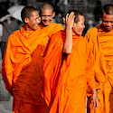 Lively monks at Angkor Wat in Siem Reap, Cambodia. Photo via Flickr:Mark Rowland