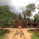 Stone carvings at Banteay Srei, Cambodia. Photo via Flickr:Josh IIany