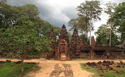 Stone carvings at Banteay Srei, Cambodia. Photo via Flickr:Josh IIany