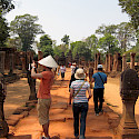 Sightseeing the ruins at Banteay Srei, Cambodia. Photo via Flickr:hslo