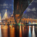 Bhumibol Bridge in Bangkok, Thailand. Photo via Flickr:Mike Behnken