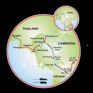 Saigon to Bangkok Map