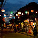 Lanterns alight a street in Vietnam. Photo via Flickr:Filippog