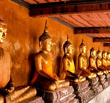 Buddha statues at Wat Mahathat, Bangkok, Thailand. Photo via Flickr:telmo32