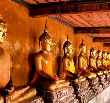 Buddha statues at Wat Mahathat, Bangkok, Thailand. Photo via Flickr:telmo32