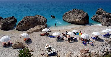 Off the bike for a swim at Kalamitsi Beach, Halkidiki, Greece. Flickr:George Terezakis