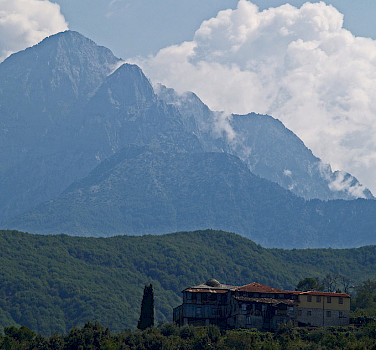 Mount Athos, Greece. Photo via Wikimedia Commons:Dave Proffer