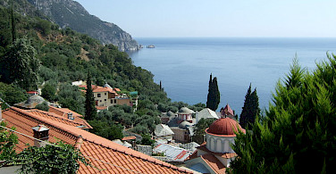 View from Nea Skiti on Mount Athos, Halkidiki, Greece. Photo via Wikimedia Commons:malenki