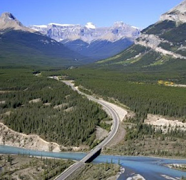 Crossing over rivers, past lakes and through mountains in Alberta, Canada. Photo courtesy of Tour Operator.