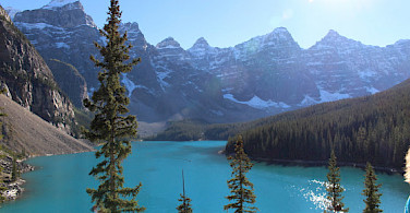 Glacier-fed Moraine Lake in Banff National Park near Lake Louise Village, Alberta, Canada. Photo courtesy of Tour Operator.