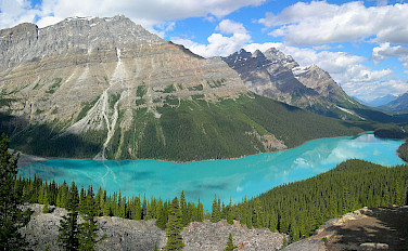 Peyto Lake, Banff National Park, Alberta, Canada. Photo via Wikimedia Commons:Tobi87