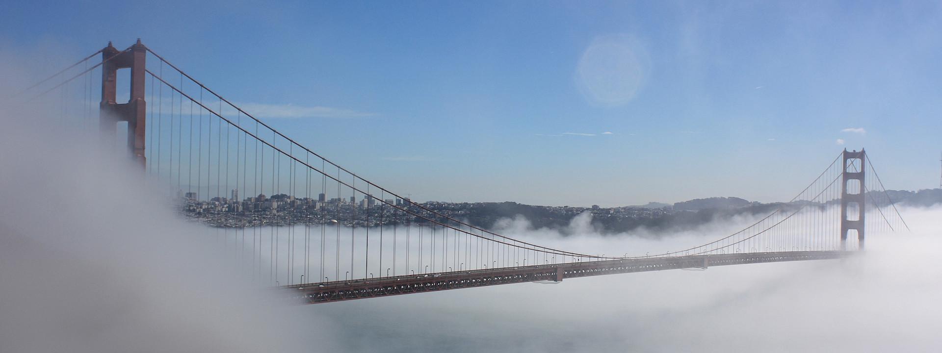 A misty view of the Golden Gate Bridge - photo via Flickr: Mark Gunn