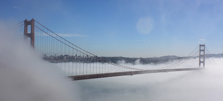 A misty view of the Golden Gate Bridge - photo via Flickr: Mark Gunn