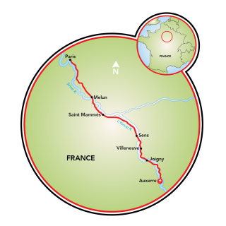 Auxerre to Paris Map
