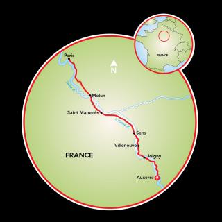 Auxerre to Paris and Paris to Auxerre Map