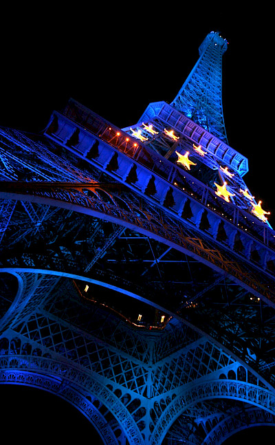 Great evening shot of Eiffel Tower in Paris, France.