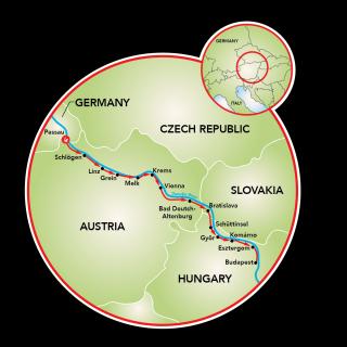 Passeio de bicicleta de Passau a Budapeste na ciclovia do Danúbio Map