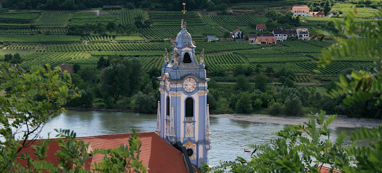 Durnstein within the vineyards of the  Wachau wine region, Austria. Photo via Flickr:jay8085