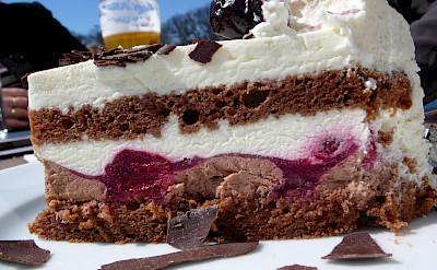 The famous <i>Schwarzwälder Kirschtorte</i> dessert in Vienna, Austria. Flickr:Raphael Labbe