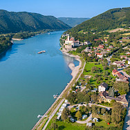Danube River through the Wachau Valley vineyards. Photo via TO