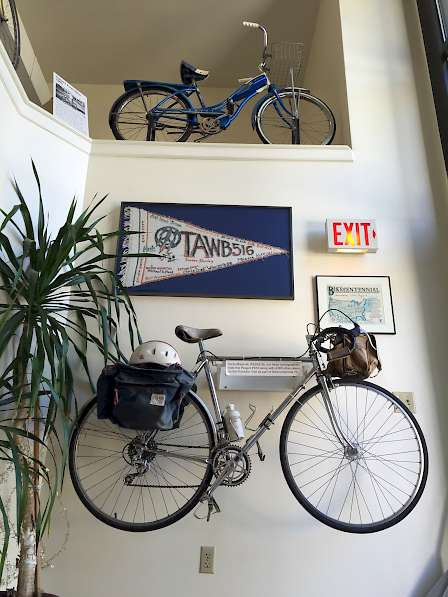 Old bikes in Adventure Cycling Associate lobby