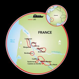 Bordeaux - Châteaux, Rivers & Wine Map