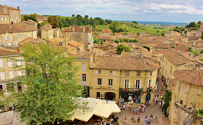 Overlooking Saint-Émilion in the heart of <i>Libournais,</i> is a medieval city surrounded by wine hills in southwestern France. Flickr:traveljunction