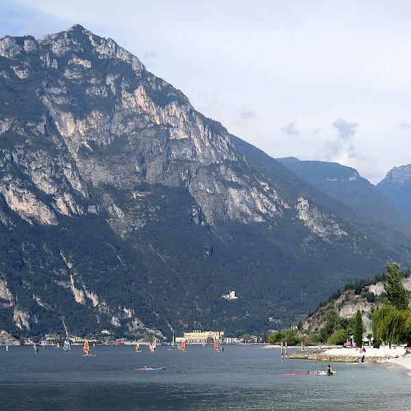 Wind surfing on Lake Garda, Italy