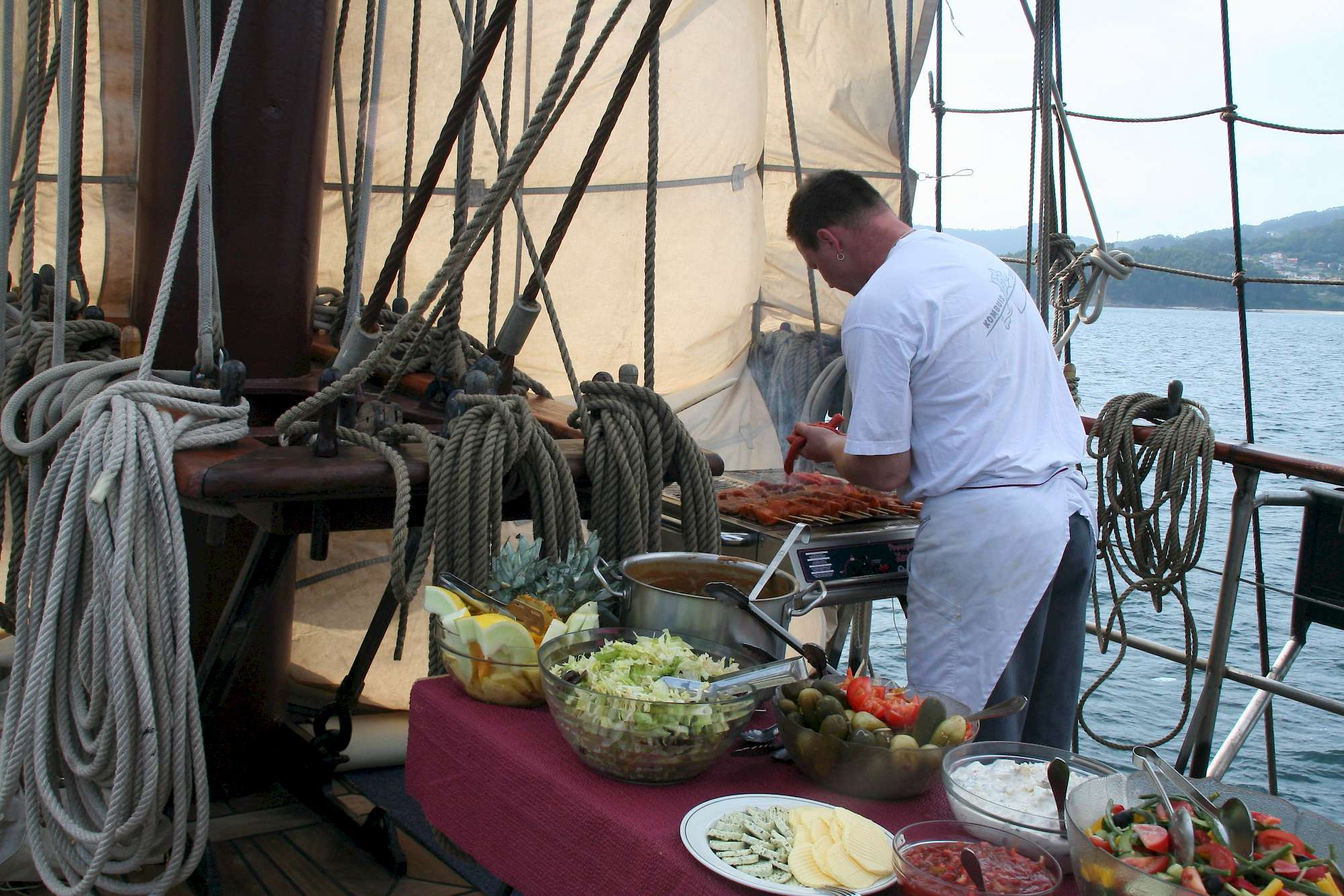 Chef grilling on the deck of the Flying Dutchman