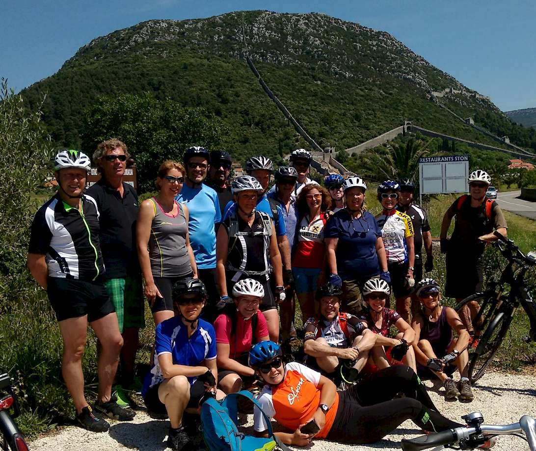 Our biking group (in the background is the incredible Wall of Ston).