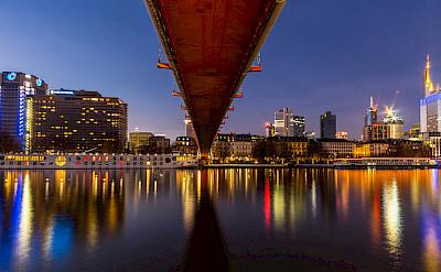 Bright city lights in Frankfurt on the Main River. Flickr:Carsten Frenzl