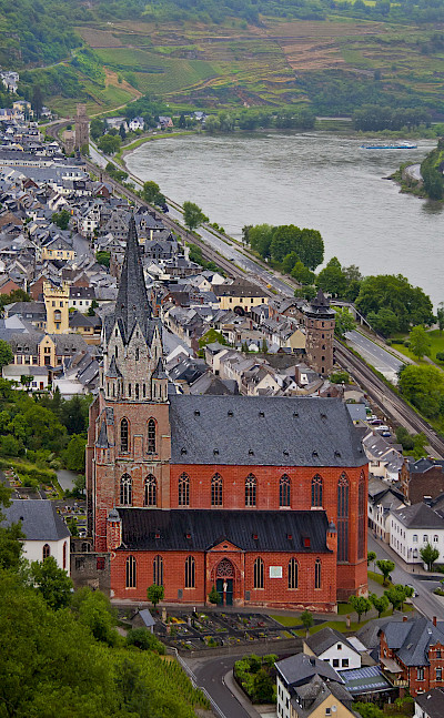Church in Oberwesel on the Rhine River with view from Schonburg Castle. Flickr:Madison Berndt