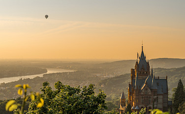 "Schloss Drachenburg on the Siebengebirge (""Seven Hills"") by Königswinter, Germany. View of the Rhine River. Photo via Flickr:Arno Hoyer"