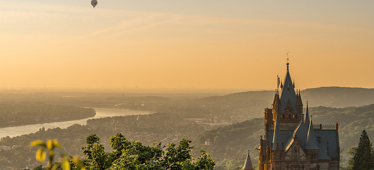 "Schloss Drachenburg on the Siebengebirge (""Seven Hills"") by Königswinter, Germany. View of the Rhine River. Photo via Flickr:Arno Hoyer"