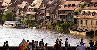 Soccer fans coming home through Bamberg, aka Little Venice. Photo via Flickr:Qole Pejorian