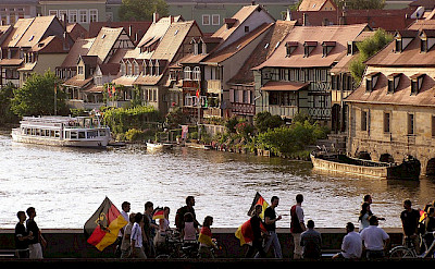 Soccer fans coming home through Bamberg, aka Little Venice. Flickr:Qole Pejorian