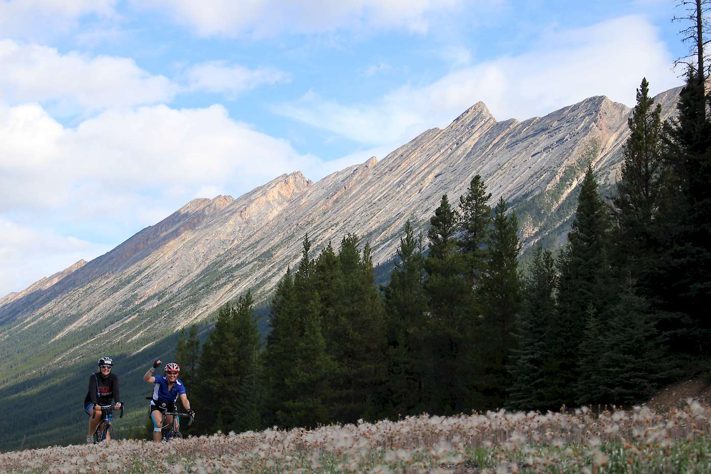 Anna and Dean biking Jasper to Banff.