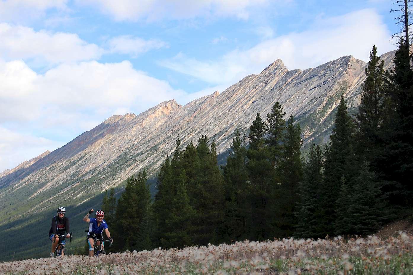 Anna and Dean biking Jasper to Banff.