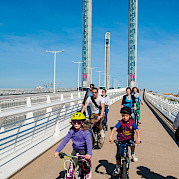 Biking over the new bridge in Bordeaux - Bordeaux | Bike & Boat Tours