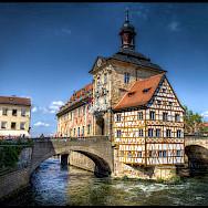 <i>Altes Rathaus</i> in Bamberg, Germany on river Regnitz and Main. Flickr:magnetismus