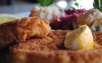 Traditional German schnitzel. Flickr:Larry Hoffman