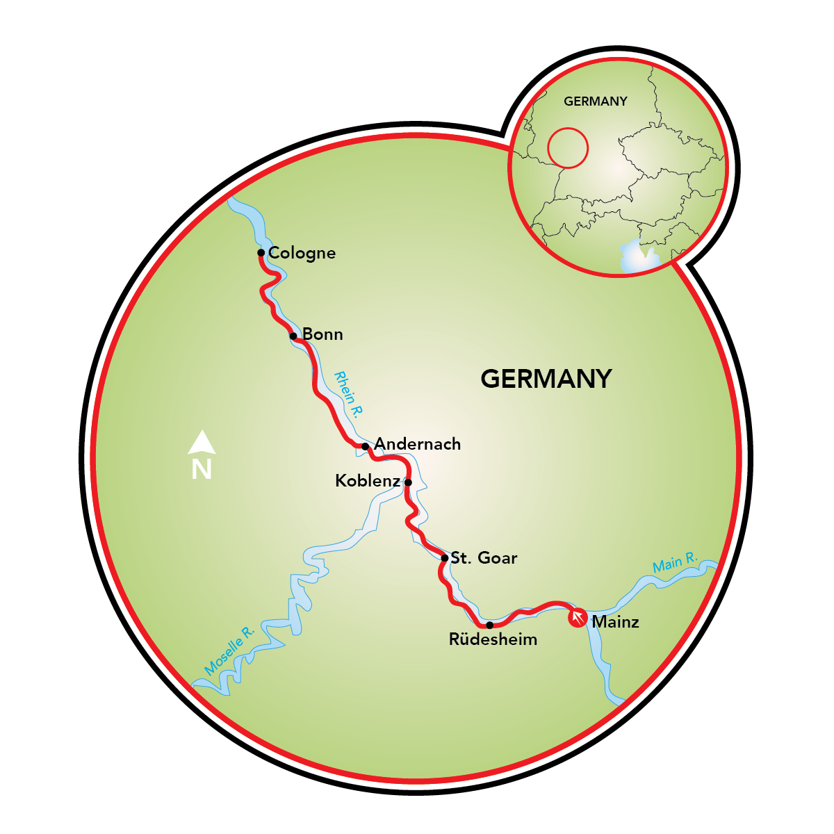 Mainz To Cologne Bike And Barge Tour Germany Tripsite - Germany map mainz