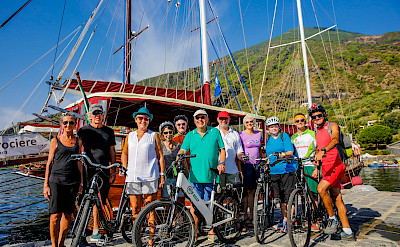 Group biking the Sicily & the Aeolian Archipelago Bike Tour!