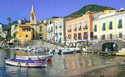 Coast on Lipari, Aeolian Islands, Sicily, Italy.