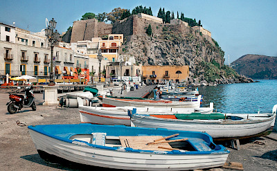 Harbor in Lipari, Aeolian Islands, Sicily, Italy.
