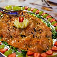 Salmon and fresh peppercorn dish aboard the Sundial