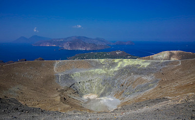 Inside a volcano's crater.