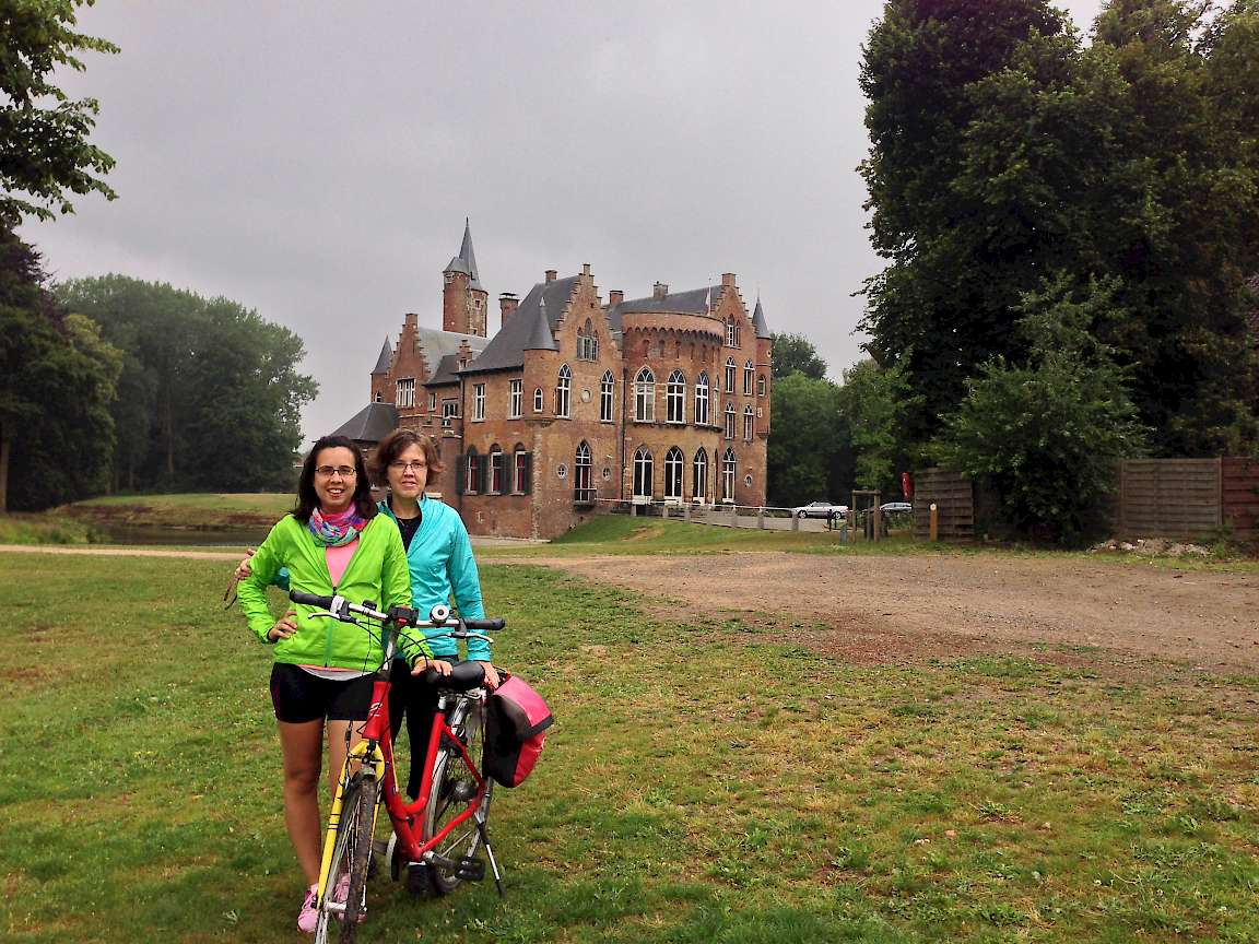 Caitlin and Nancy in front of a castle near Kruibeke, Belgium.