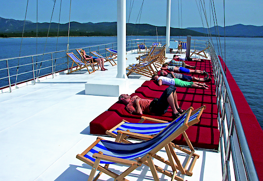 Sun deck aboard the Harmonia Comfort Plus Class Boat